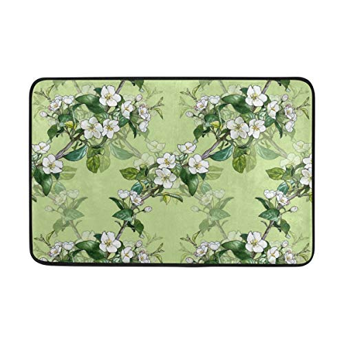 sexy world Pattern with Apple Blossom Doormat, Entry Way Indoor Outdoor Door Rug with Non Slip Backing, (23.6 x 15.7-Inch) Apple Blossom Pattern