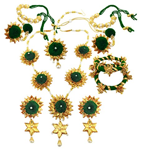 BLENT Traditional Dark Green Gota Jewellery Set for Women/Girls (Full)