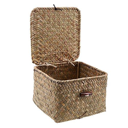 Aufbewahrungskiste Aufbewahrungs korb, WCIC Seegras Weben Fall Container Mülleimer Organisation Box mit Cover für Kleidung Laundry Toys Cosmetics CD DVDs Bücher Mittlere Größe 17cmX17cmX10cm (Seegras-boxen)