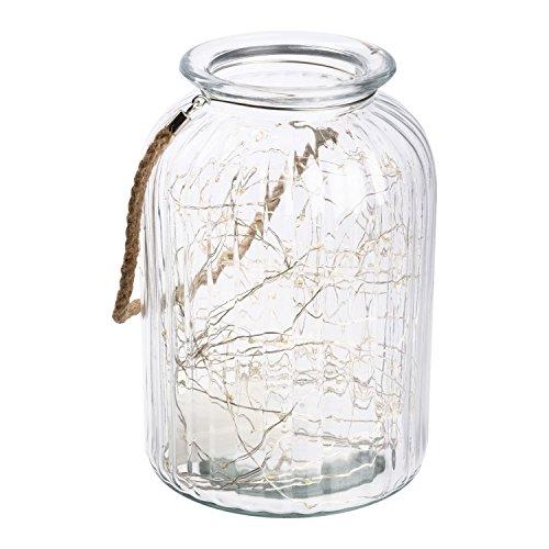 Vaso con luci in vetro Ø18 x h 26,5 cm, 120 MicroLED bianco caldo a batteria