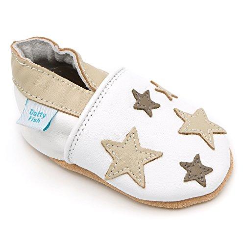 Dotty Fish Leder Babyschuhe - Baby Jungen und Mädchen - weiß und braun Sterne - 6-12 Monate - Gr. 19