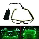 ERGEOB Light Up El Draht Brillen für Party Bar Club EL Augenbrille für Festivals Tanz grün