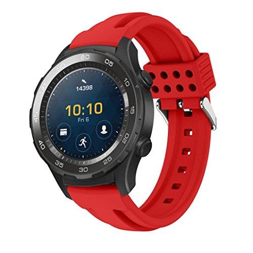 OverDose La nueva manera se divierte la venda de la correa de la pulsera del silicón para el reloj 2 de Huawei (Rojo, 21mm)