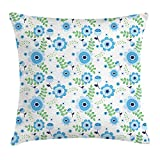 Floral Throw Pillow Cushion Cover, Simplistic Flower Design with Spring Blooms And Fresh Foliage Leaves, Decorative Square Accent Pillow Case, 18 X 18 Inches, Blue Pale Blue Apple Green
