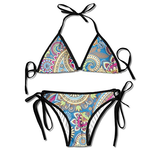 Paisley Pattern Bikini Women's Summer Swimwear Triangle Top Bikinis Swimsuit Sexy 2-Piece Set - Paisley Triangle Bikini Top