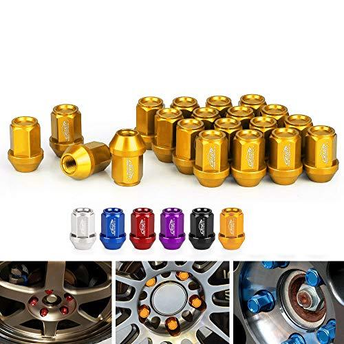 LIDAUTO Radmuttern Rad Muttern Diebstahlsicherungsschraube Kugelkopf Aluminiumlegierung M12 × 1,5 、 M12 × 1,25 35 mm LN045,golden,M12*1.5 (Tuner Racing Räder)