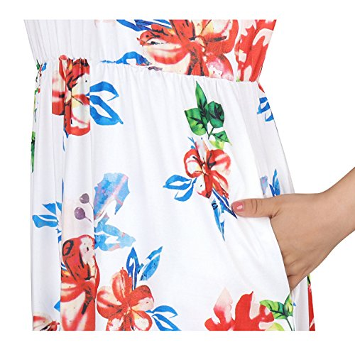 Junshan Femmes Manches Longues Dentelle Vintage Floral Robe Casual Blanc