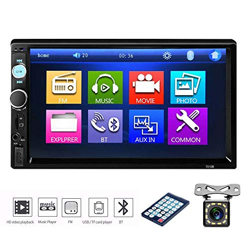 podofo Doppel Din Auto Stereo 17,8cm 2Din Touchscreen Autoradio Einparkhilfe Bluetooth USB Spiegel Link + 12LED Backup Kamera Fernbedienung Auto DVD Player/AUX/MP3/MP4