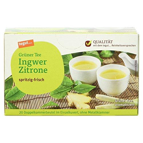 Tegut Grüner Tee Ingwer-Zitrone, 20 Beutel, (1 x 34 g)