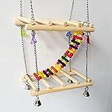 Myyxt Papageien Spielzeug Swing Vogel Leiter mit Glocken standing Frame hölzernen Rahmen und Joch