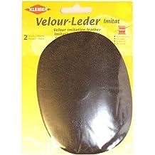 Kleiber - Parche ovalado de velvetón, imitación de cuero, color marrón oscuro