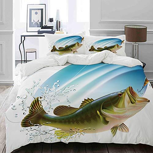MOKALE Bettwäsche-Set, Mikrofaser,Fischen Forellenbarsch, der einen Biss im Wasser-Spray-Bewegungs-Spritzen-Wilden Bild fängt,1 Bettbezug 135 x 200cm+ 2 Kopfkissenbezug 80x80cm -