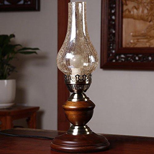 YL-Light Vintage Industrial Kerosin Tischlampe Holz Base Vintage Kerze Tischlampe Antik Research Schlafzimmer Dekoration Geschenk - Seminar Tische