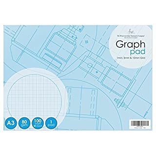 A3 graph pad, 50 sheets (100 pages), 1mm, 5mm, 10mm graph, 80gsm, single pack