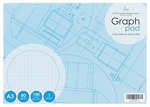 Papel milimetrado, 50hojas (100páginas), 1mm, 5mm, 10mm, cuadriculado, 80g/m², color blanco