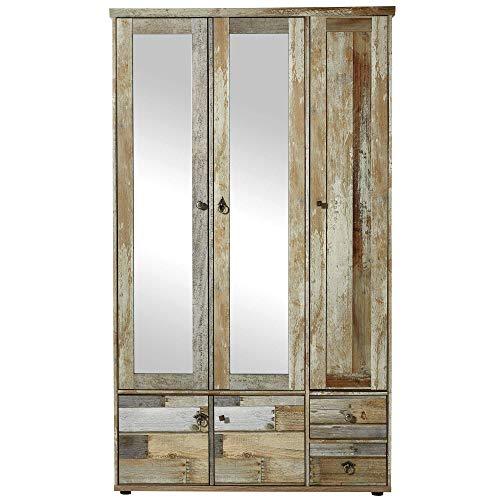Bonanza Vintage Garderobenschrank in Driftwood Optik - Retro Flurgarderoben Schrank mit zwei Spiegeltüren - 108 x 188 x 40 cm (B/H/T)