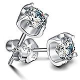 Jaring 925 Sterling Silber Damen Ohrringe, Runde Ohrstecker Ohrschmuck 925er Silber Zirkonia,ein ideales Geschenk für Frauen