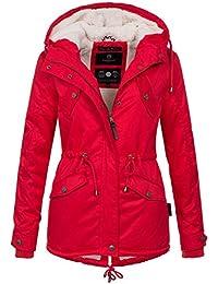 Marikoo B376 - Abrigo de invierno tipo parca para mujer, forrada con tejido de peluche