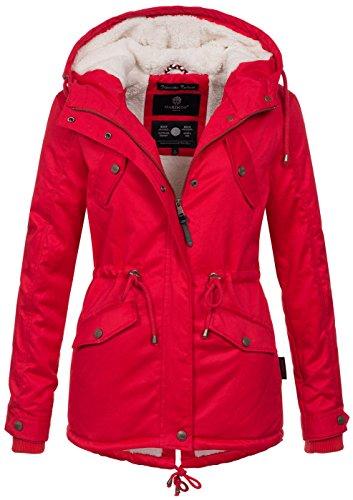 Marikoo Damen Winter Jacke Parka Winterjacke Teddyfell gefüttert B376 [B376-Manolya-Rot-Gr.L] Super Warme Jacke