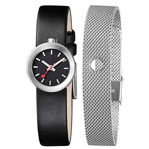 ed6b387b95a3 Mondaine SBB Aura 22mm A6663032414SBBB Reloj de pulsera Cuarzo Mujer correa  de Cuero Negro