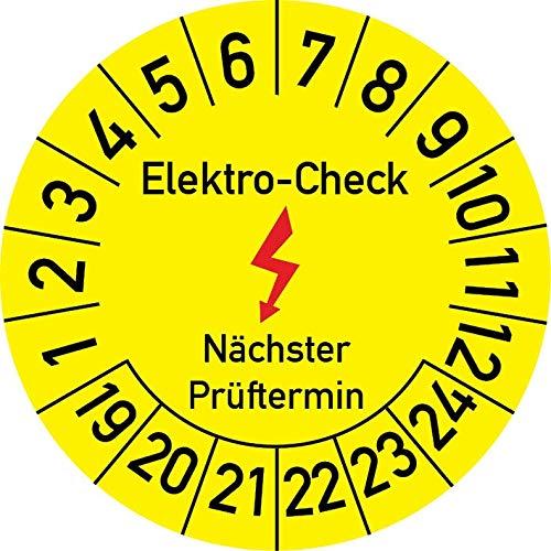 Elektro-Check Prüfplakette, 100 Stück, in verschiedenen Größen, Prüfetikett Prüfsiegel Plakette Elektro-Prüfung (20 mm Ø)