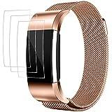 Bracelet pour Fitbit Charge 2 avec Protecteurs d'écran, AFUNTA 3 Pack Anti-rayures TPU Films de Protection, avec 1 Bande Magnétique en Acier Inoxydable 15cm - 22,5cm - Or Rose