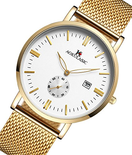 AOKULASIC Mens Fashion Date Analog Quartz Waterproof Wrist Watch with Particular Second Sub Dial. (Gold & White)