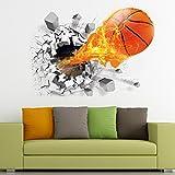 3D Basketball Wall Sticker Decal Living Room Bedroom Decor Men Teenager Boy Kids Children Baby Room Nursery Removable Wall Art Mural Wallpaper