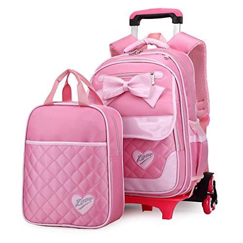 UEK Mädchen Schulranzen Trolleytasche Rucksack Rollen Rollenreisetasche Reisegepäck mit 6 Rollen Trolley Tasche A