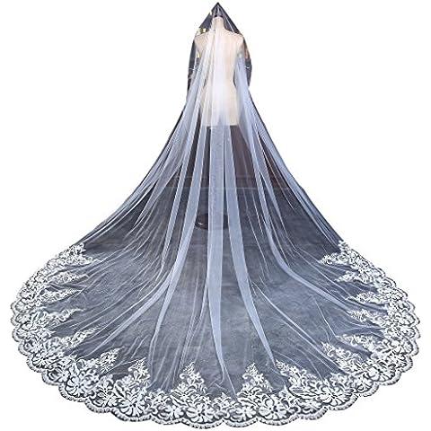 Edith qi 1 capa de plata apliques de encaje forrado de lentejuelas borde moldeado, Mantilla catedral de velo de novia, Long Accesorios de boda, de marfil blancos, más de 300 cm