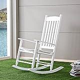 HWF Schaukelstühle Schaukelstuhl Massivholz Freie und ungehinderte Freizeit Liegesessel Amerikanischer Stil Balkon Walnuss Farbe Milchig Weiß ( Farbe : Milchig weiß )