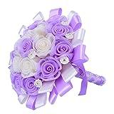 QIN&X Hochzeit Brautstrauß Kunstseide mit Blumen Hochzeit Dekoration, Violett