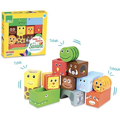 Vilac - 2101 - Cubes Sonores - Animaux de la Savane - Jouet de Premier Age