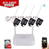 Tonton 1080P Full HD Wireless Security Camera System, 8CH NVR Recorder with 1TB HDD and 4PCS 1080P 2.0 MP Waterproof Outdoor Indoor Bullet Cameras with PIR Sensor, Audio Record and Clear Night Vision,Support Smartphone Remote View