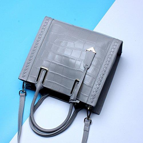 Weibliche Tasche Erste Schicht Von Leder Damen Handtasche Einfache Mode Schulter Messenger Bag Grau