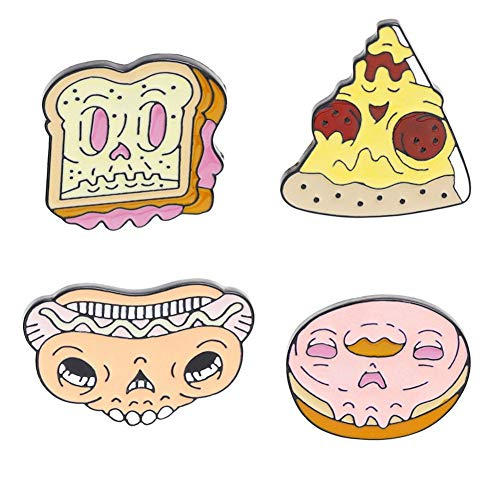 SKZKK Emaille Revers Pin Pizza, Sandwich, Hot Dog, Donut Pins für Jacken Geschenke für Frauen Nette Pins Broschen und Pins für Frauen Food Series