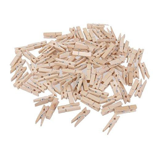 Naisidier Doppelpacktasche 100 Pcs Holz Klammern Mini Holz Foto Papier Peg Wäscheklammer Kleidung Pin Clip Wooden Pegs for Clothes Paper Notes 3cm