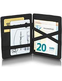 GenTo® Magic Wallet Vegas - Wild-Leder - Das ORIGINAL - mit Münzfach und RFID Schutz mit TÜV - Kleine magische Geldbörse - Innovatives Geschenk für Herren - mit Geschenkbox | Design Germany