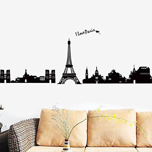 Inglese Lettere Casa Torre Eiffel di Parigi Adesivo da parete Decorazioni in PVC Vinile Carta Da Parati Per Camera Da Letto, Soggiorno Cucina Art Picture DIY per bambini ragazzi Senior Adulto Nursery