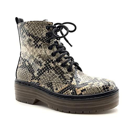 Angkorly - Scarpe Moda Stivaletti Scarponcini Sneaker Rangers Roccia Punk Donna Effetto Pitone Pitone Stampa Animalier Tacco a Blocco 5 CM - Nero BL281 T 38