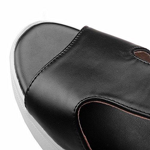 VogueZone009 Femme à Talon Correct Couleur Unie Ouverture D'Orteil Velcro Sandales à Coin Noir