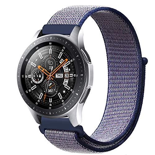 MroTech Galaxy Watch 46mm Armband Nylon, 22mm Uhrenarmband für Samsung Gear S3 Frontier / Gear S3 Classic, Huawei Watch 2 Classic / Huawei Watch GT, Ticwatch Pro, Pebble Time 22 mm, Blau - 22mm Nylon-loop-uhr-band