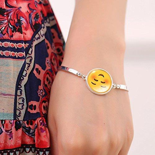 Jiayiqi Femmes Fascinantes Emoji Imprimer Bracelet Bling Verre Pierre Bijoux Bracelet Pendentif No 2
