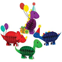 Little Dino Party Centerpiece Honeycomb 4 piece set Dinosaur Party by Creative Converting