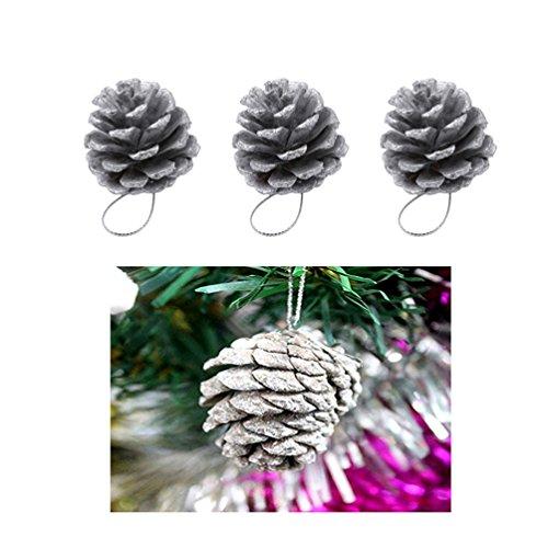 Albeey 18 Stücke Tannenzapfen Weihnachtsdeko Kiefernzapfen (Silber-) Tannenzapfen Silber