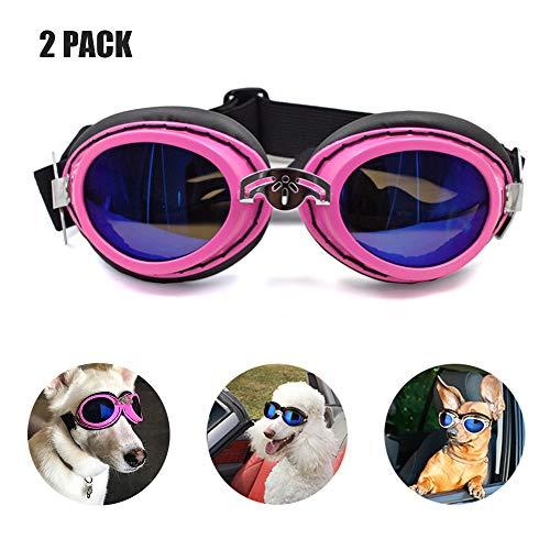 Pet Goggles & Pet Motorrad Sonnenbrillen, Big Dog Eye Verschleißschutz/Wasserdicht Winddicht/UV-Schutz/Verstellbares Band Faltbare Anti-Fog Cool Dog Brille,Pink