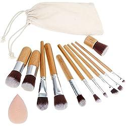 Rovtop 13 en 1, 11 Unidades Brochas y Pinceles de Maquillaje con Mango de Bambú /Juego de Cepillo de Maquillaje y Esponja para Maquillar, Incluido el Estuche