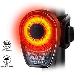 Luces Traseras, VELLAA para Bicicleta Recargable USB - Potente LED COB Faro Trasero Bici - Muy Luminoso y Fácil de Instalar Luces Rojas Máxima Seguridad Ciclismo Impermeable Clasificado IPX8