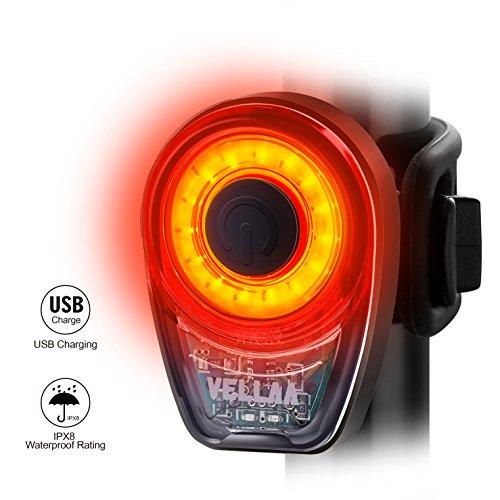 Luces Traseras, VELLAA para Bicicleta Recargable USB – Potente LED COB Faro Trasero Bici – Muy Luminoso y Fácil de Instalar Luces Rojas Máxima Seguridad Ciclismo Impermeable Clasificado IPX8
