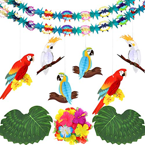 WILLBOND 49 Stücke Hawaiianisches Tropisches Luau Themen Party Dekoration Satz mit Papier Papageien Bienenwaben Blumen Girlande, Palmblättern, Hibiskus Blüten und Hängenden Party Dekorationen -
